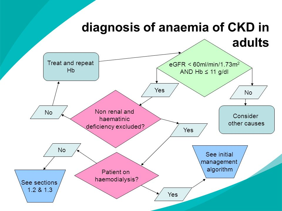 diagnosis of anaemia of CKD in adults eGFR < 60ml/min/1.73m 2 AND Hb 11 g/dl No Consider other causes Yes Non renal and haematinic deficiency excluded
