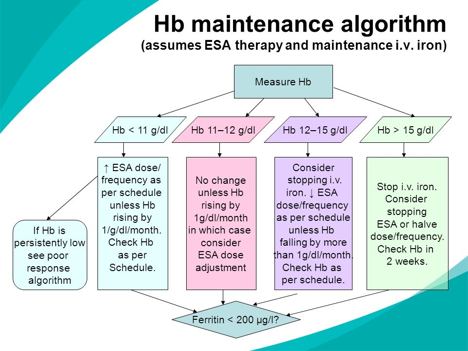 Hb maintenance algorithm (assumes ESA therapy and maintenance i.v. iron) Measure Hb Hb < 11 g/dlHb 11–12 g/dlHb 12–15 g/dlHb > 15 g/dl ESA dose/ frequ
