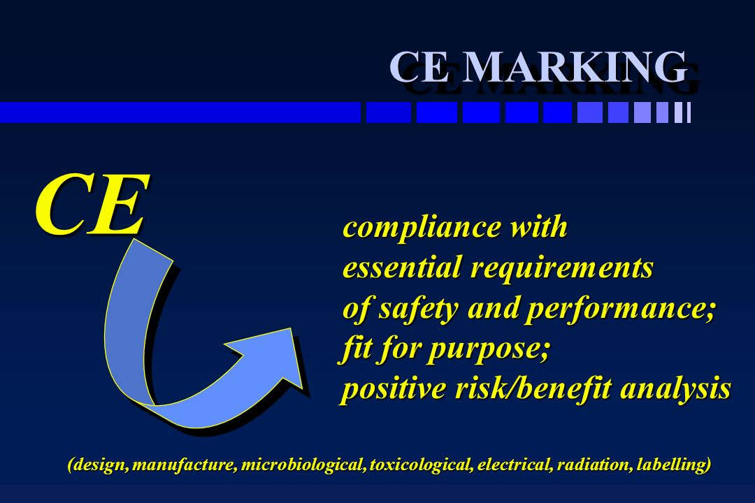 CE MARKING CE compliance with essential requirements of safety and performance; fit for purpose; positive risk/benefit analysis (design, manufacture, microbiological, toxicological, electrical, radiation, labelling)