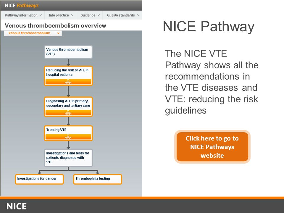 NICE Pathway The NICE VTE Pathway shows all the recommendations in the VTE diseases and VTE: reducing the risk guidelines Click here to go to NICE Pat