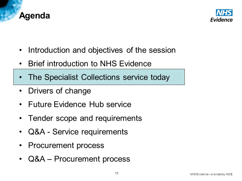 NHS Evidence – provided by NICE 11 Agenda Introduction and objectives of the session Brief introduction to NHS Evidence The Specialist Collections ser