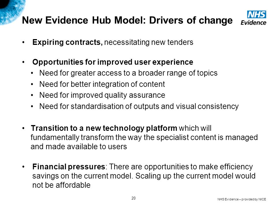 NHS Evidence – provided by NICE 20 New Evidence Hub Model: Drivers of change Expiring contracts, necessitating new tenders Opportunities for improved