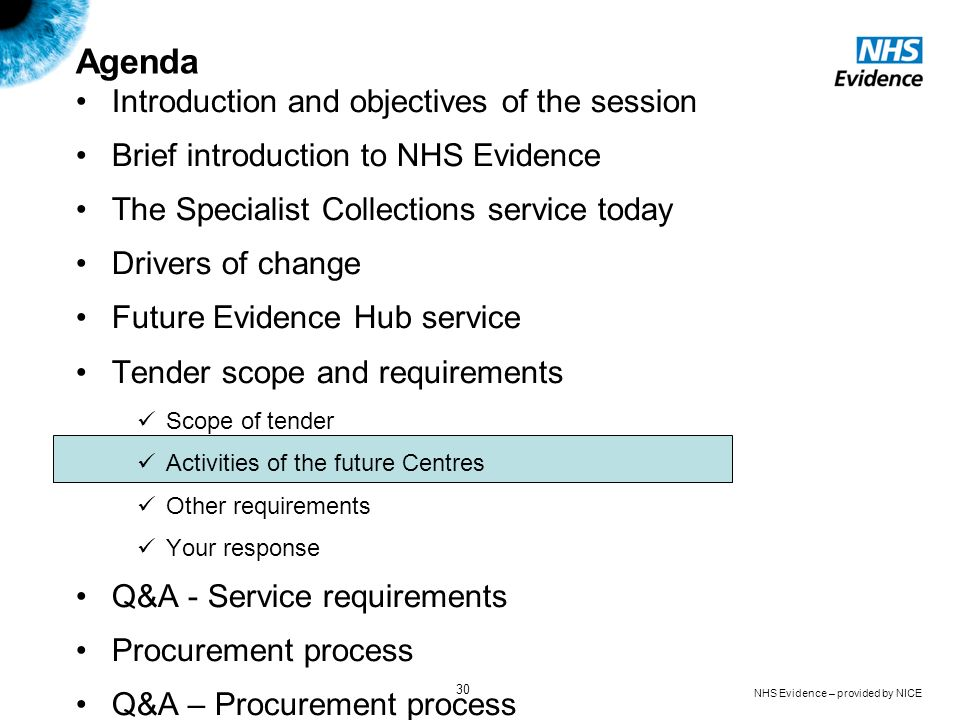 NHS Evidence – provided by NICE 30 Agenda Introduction and objectives of the session Brief introduction to NHS Evidence The Specialist Collections ser