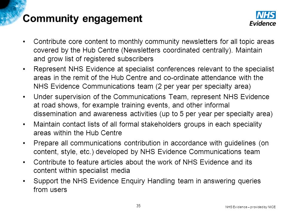 NHS Evidence – provided by NICE 35 Community engagement Contribute core content to monthly community newsletters for all topic areas covered by the Hu