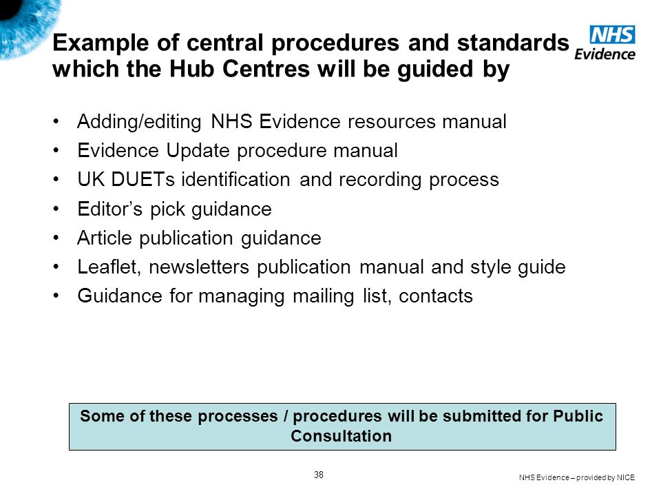 NHS Evidence – provided by NICE 38 Example of central procedures and standards which the Hub Centres will be guided by Adding/editing NHS Evidence res
