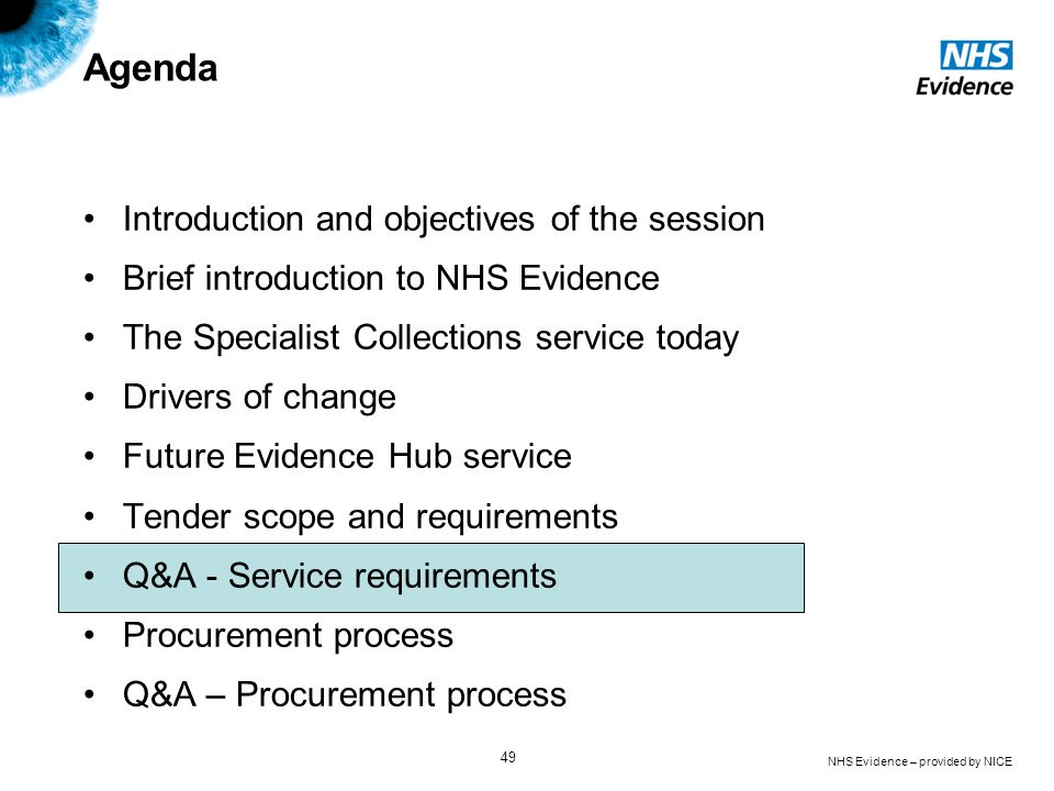 NHS Evidence – provided by NICE 49 Agenda Introduction and objectives of the session Brief introduction to NHS Evidence The Specialist Collections ser