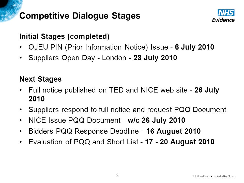 NHS Evidence – provided by NICE 53 Competitive Dialogue Stages Initial Stages (completed) OJEU PIN (Prior Information Notice) Issue - 6 July 2010 Supp