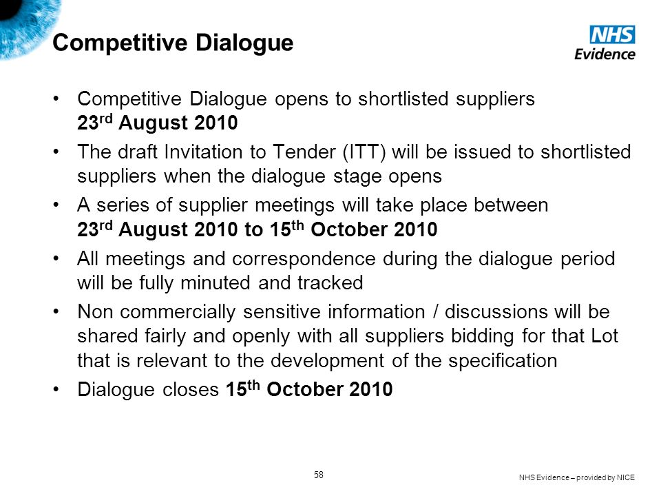 NHS Evidence – provided by NICE 58 Competitive Dialogue Competitive Dialogue opens to shortlisted suppliers 23 rd August 2010 The draft Invitation to