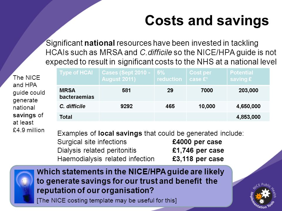 Costs and savings Significant national resources have been invested in tackling HCAIs such as MRSA and C.difficile so the NICE/HPA guide is not expected to result in significant costs to the NHS at a national level W hich statements in the NICE/HPA guide are likely to generate savings for our trust and benefit the reputation of our organisation.