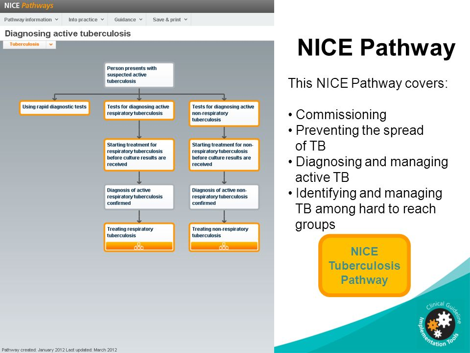 NICE Pathway This NICE Pathway covers: Commissioning Preventing the spread of TB Diagnosing and managing active TB Identifying and managing TB among h