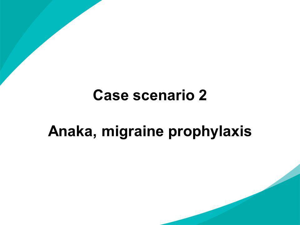Case scenario 2 Anaka, migraine prophylaxis