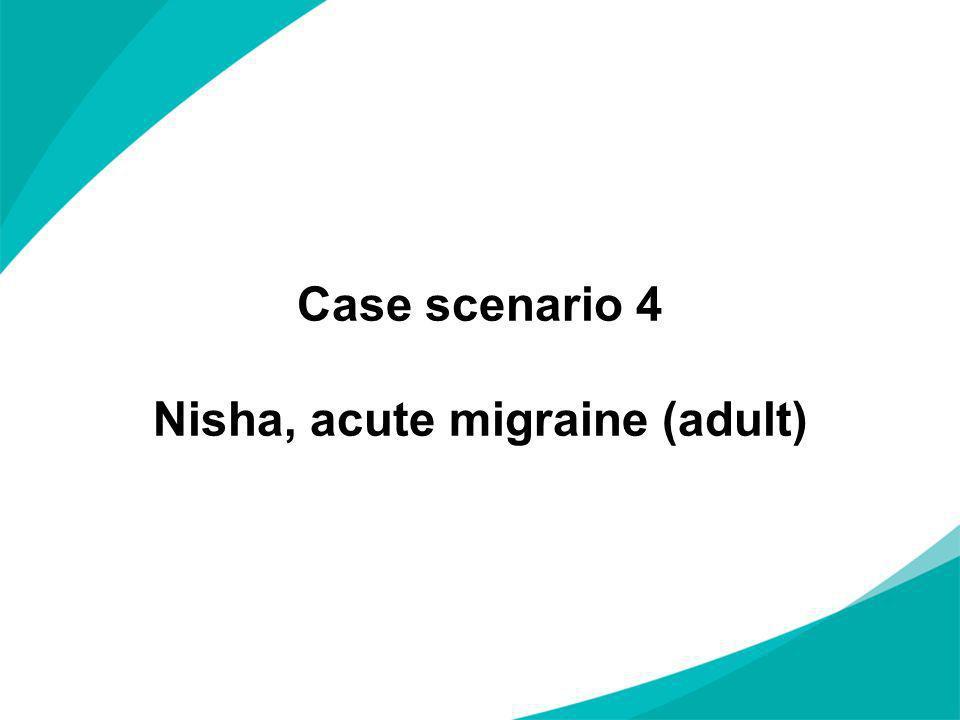 Case scenario 4 Nisha, acute migraine (adult)