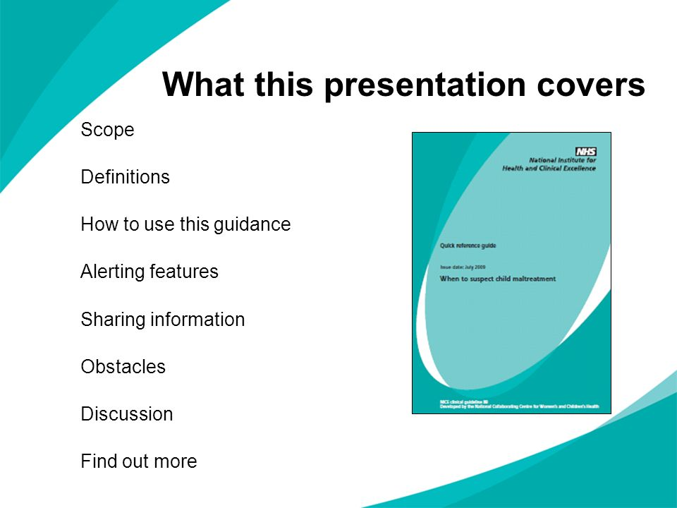 What this presentation covers Scope Definitions How to use this guidance Alerting features Sharing information Obstacles Discussion Find out more