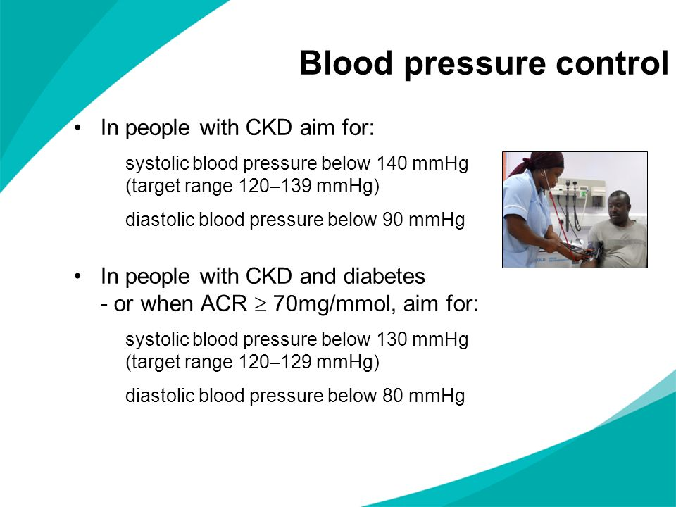 Blood pressure control In people with CKD aim for: systolic blood pressure below 140 mmHg (target range 120–139 mmHg) diastolic blood pressure below 9