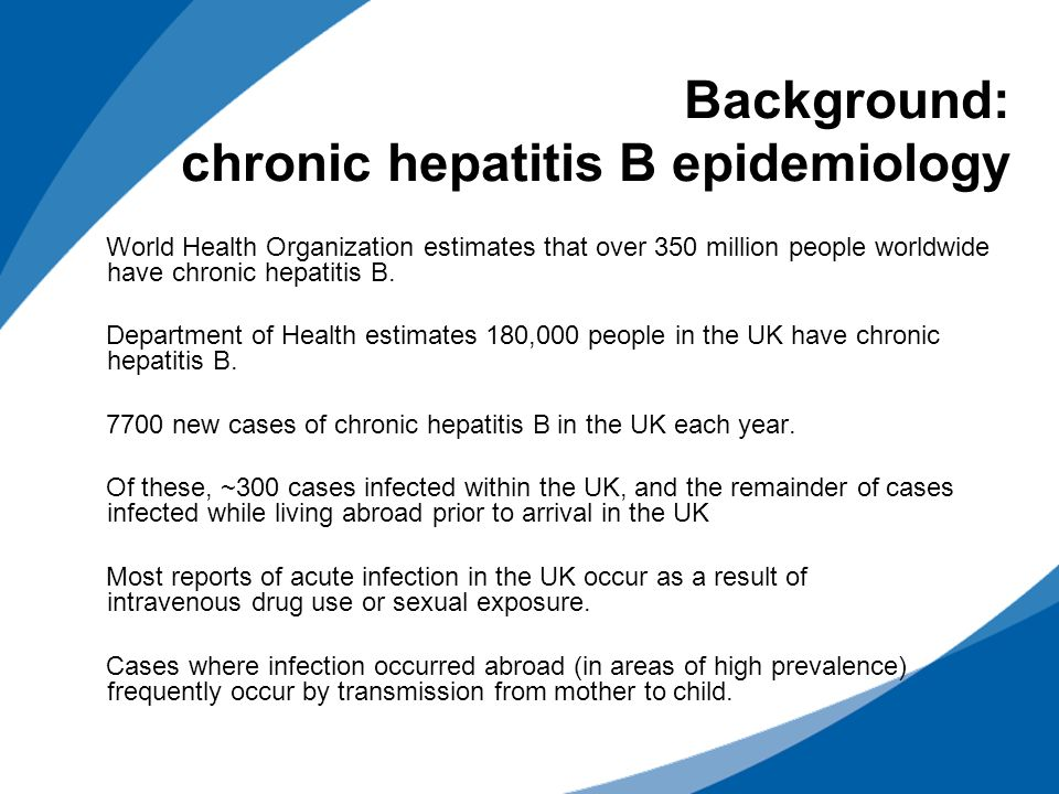 Background: chronic hepatitis B epidemiology World Health Organization estimates that over 350 million people worldwide have chronic hepatitis B. Depa
