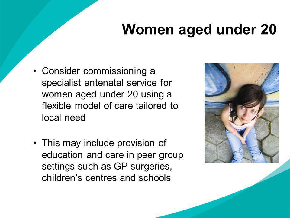 Women aged under 20 Consider commissioning a specialist antenatal service for women aged under 20 using a flexible model of care tailored to local nee