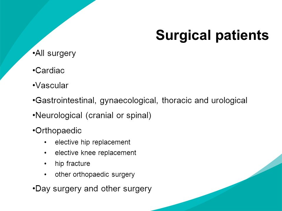 Surgical patients All surgery Cardiac Vascular Gastrointestinal, gynaecological, thoracic and urological Neurological (cranial or spinal) Orthopaedic