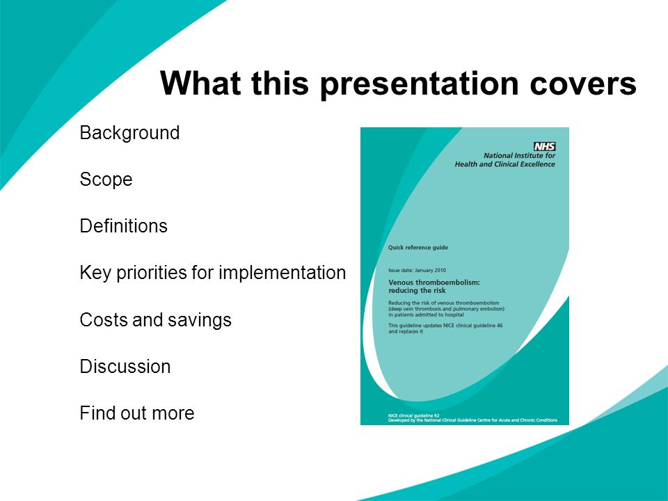 What this presentation covers Background Scope Definitions Key priorities for implementation Costs and savings Discussion Find out more