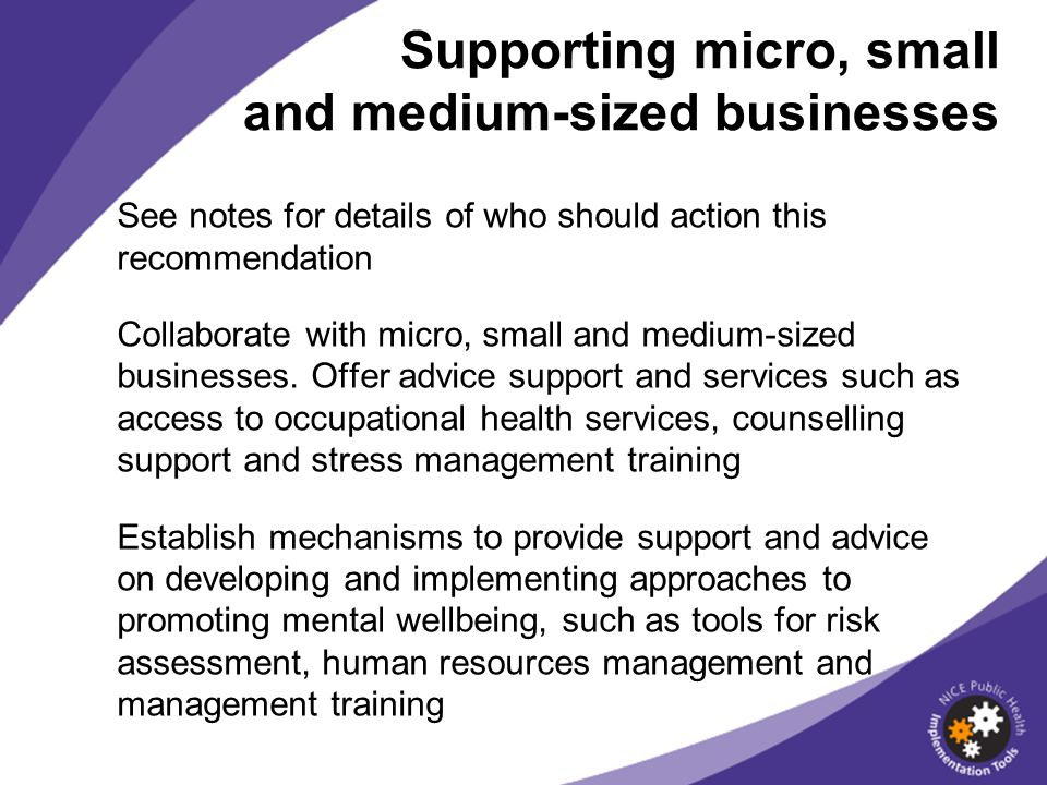 See notes for details of who should action this recommendation Collaborate with micro, small and medium-sized businesses. Offer advice support and ser