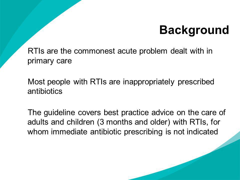 Background RTIs are the commonest acute problem dealt with in primary care Most people with RTIs are inappropriately prescribed antibiotics The guidel