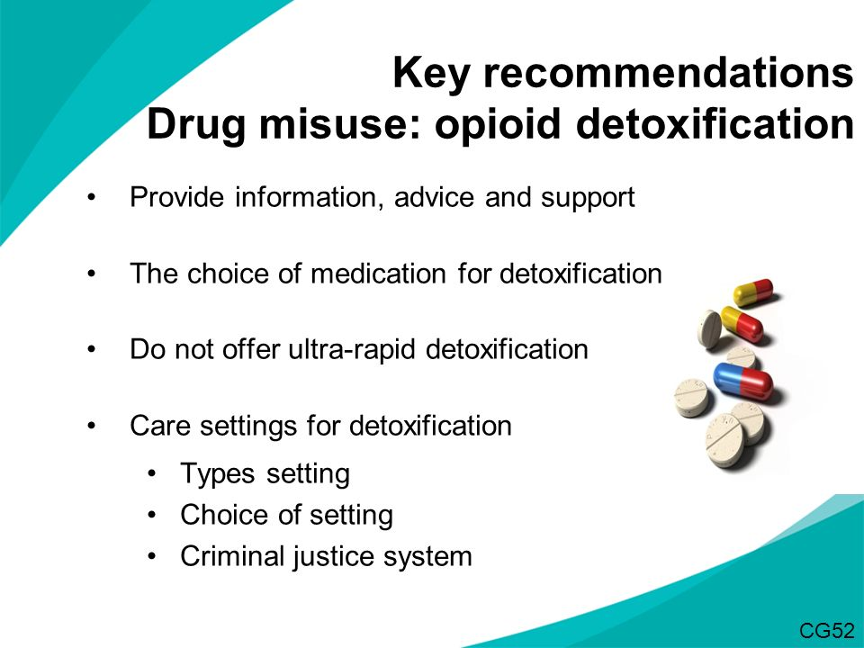 Key recommendations Drug misuse: opioid detoxification Provide information, advice and support The choice of medication for detoxification Do not offe