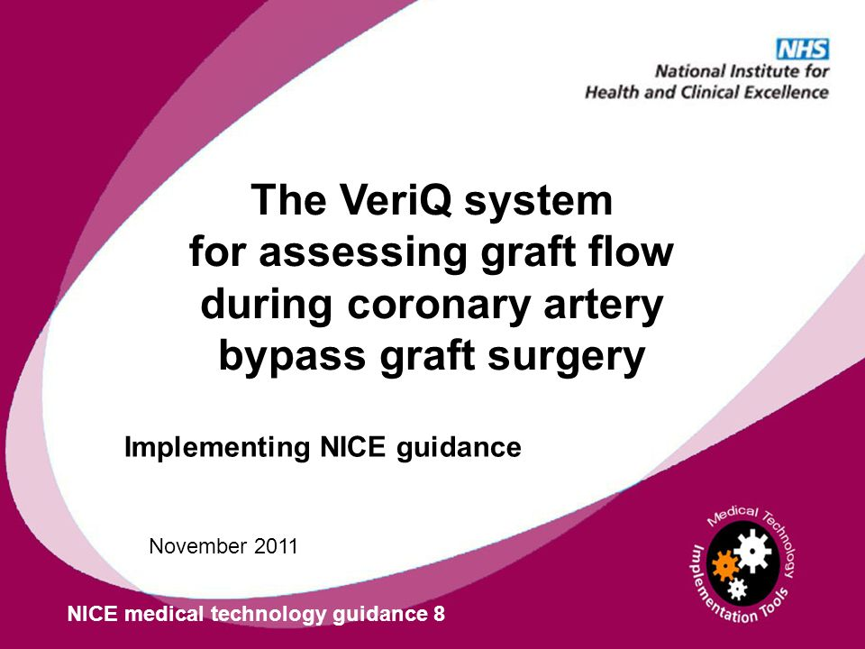 Implementing NICE guidance NICE medical technology guidance 8 November 2011 The VeriQ system for assessing graft flow during coronary artery bypass gr