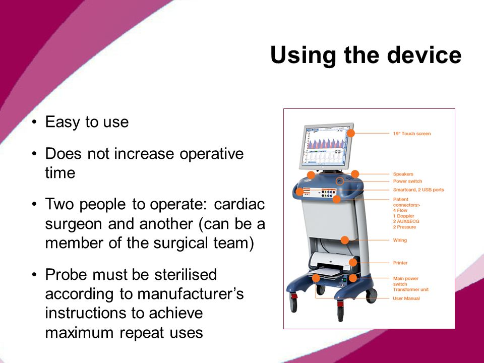 Using the device Easy to use Does not increase operative time Two people to operate: cardiac surgeon and another (can be a member of the surgical team