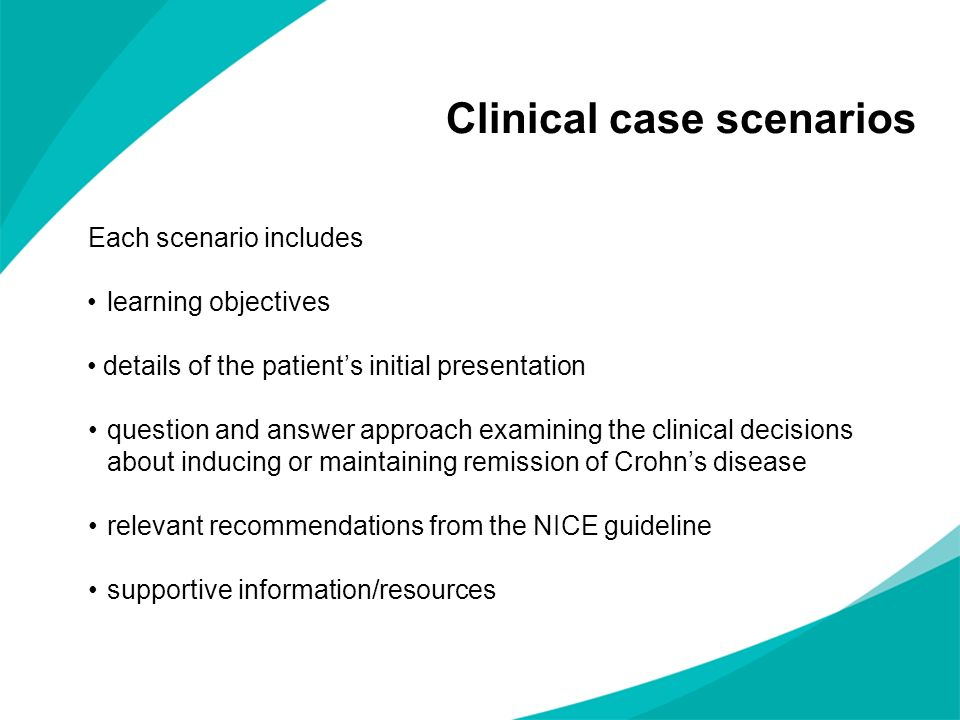 Clinical case scenarios Each scenario includes learning objectives details of the patients initial presentation question and answer approach examining