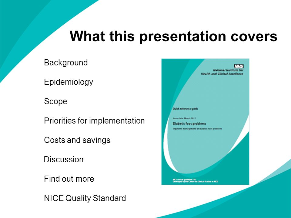 What this presentation covers Background Epidemiology Scope Priorities for implementation Costs and savings Discussion Find out more NICE Quality Stan