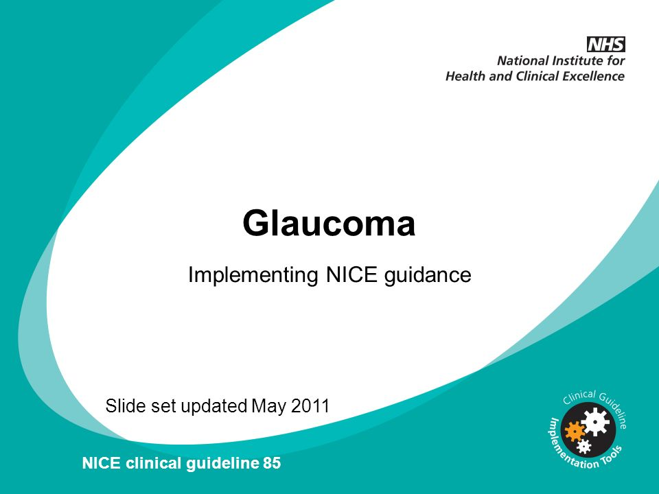 v Glaucoma Implementing NICE guidance Slide set updated May 2011 NICE clinical guideline 85