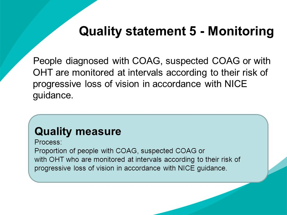 Quality statement 5 - Monitoring People diagnosed with COAG, suspected COAG or with OHT are monitored at intervals according to their risk of progress