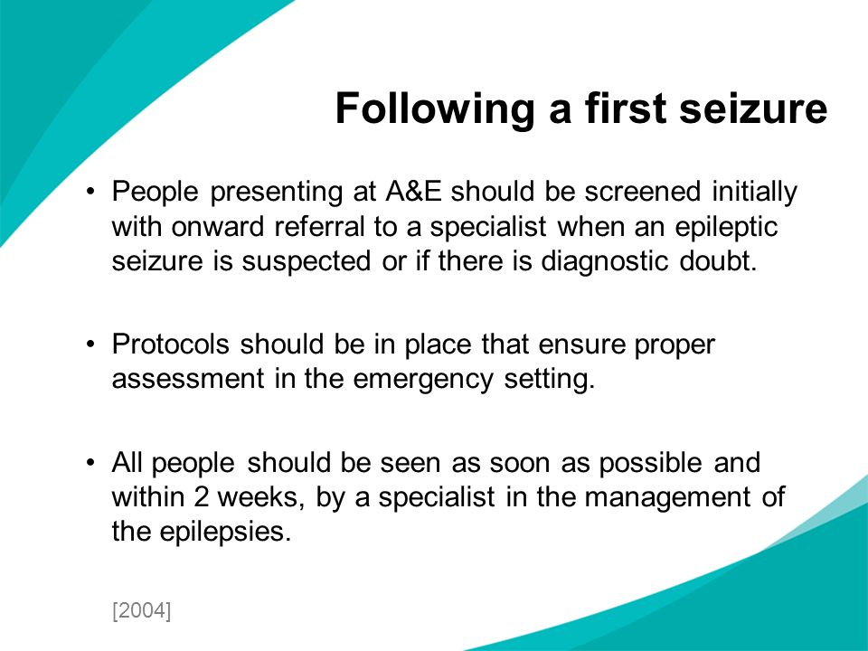 People presenting at A&E should be screened initially with onward referral to a specialist when an epileptic seizure is suspected or if there is diagn