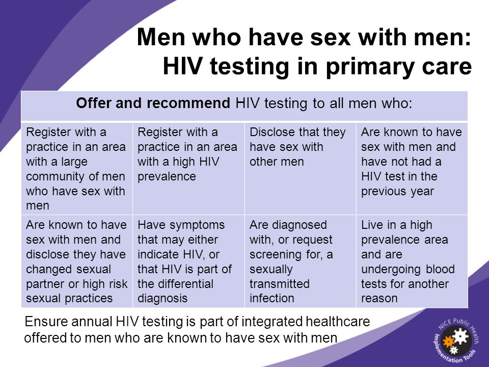 Men who have sex with men: HIV testing in primary care Offer and recommend HIV testing to all men who: Register with a practice in an area with a larg