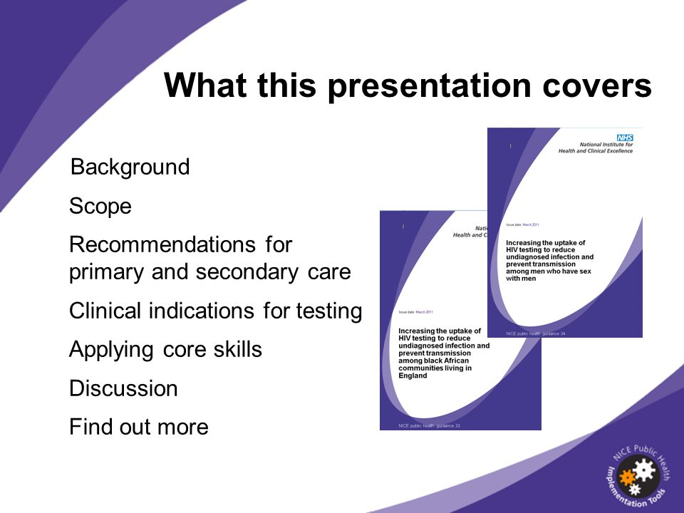 What this presentation covers Background Scope Recommendations for primary and secondary care Clinical indications for testing Applying core skills Di