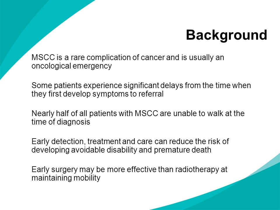 Key priorities for implementation Service configuration and urgency of treatment Early detection Imaging Treatment of spinal metastases and MSCC Supportive care and rehabilitation
