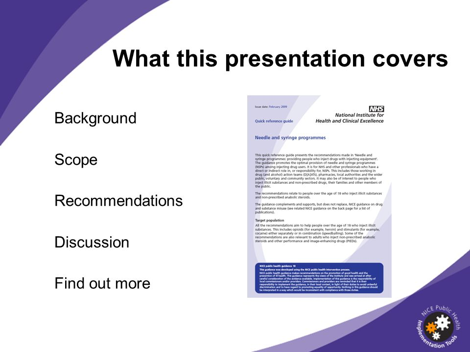 What this presentation covers Background Scope Recommendations Discussion Find out more