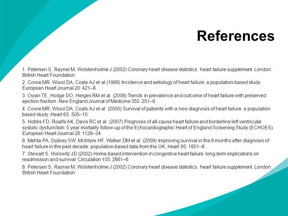 1. Petersen S, Rayner M, Wolstenholme J (2002) Coronary heart disease statistics: heart failure supplement. London: British Heart Foundation 2. Cowie