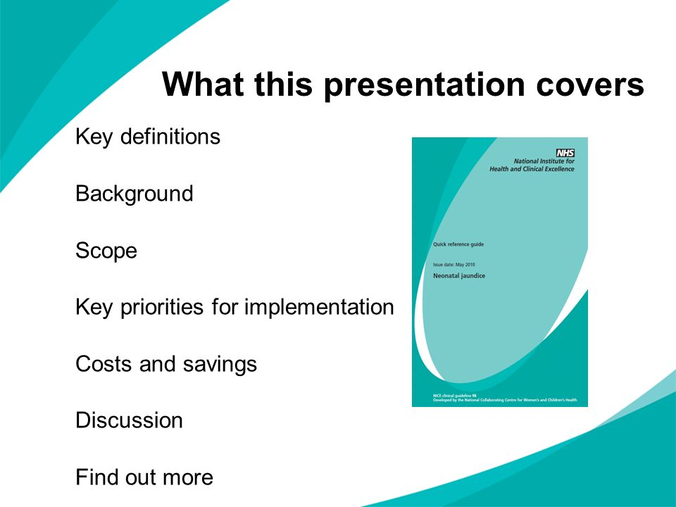 What this presentation covers Key definitions Background Scope Key priorities for implementation Costs and savings Discussion Find out more
