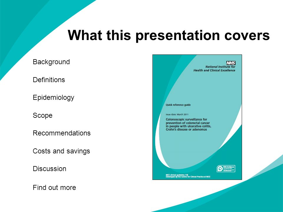 What this presentation covers Background Definitions Epidemiology Scope Recommendations Costs and savings Discussion Find out more