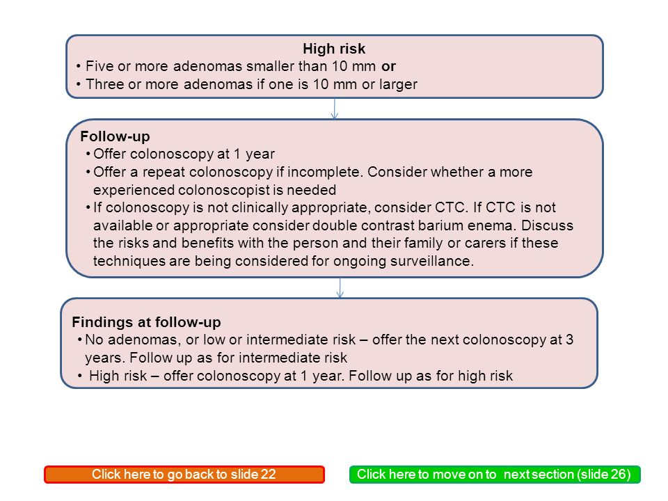 High risk Five or more adenomas smaller than 10 mm or Three or more adenomas if one is 10 mm or larger Follow-up Offer colonoscopy at 1 year Offer a repeat colonoscopy if incomplete.