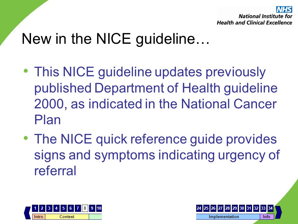 Intro Context Cancer guidance – key differencesImplementation 123456789101112131415161718192021222324252627 Info 28293031323334 New in the NICE guidel