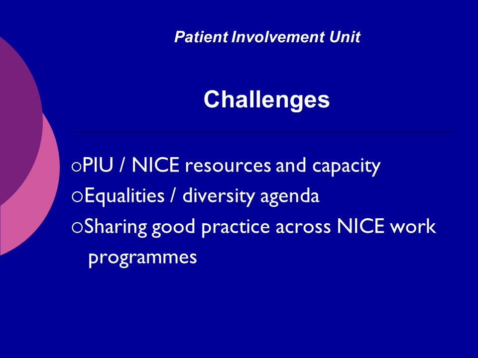 Patient Involvement Unit Challenges PIU / NICE resources and capacity Equalities / diversity agenda Sharing good practice across NICE work programmes