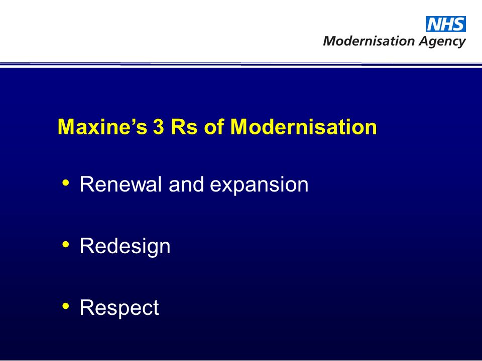 Maxines 3 Rs of Modernisation Renewal and expansion Redesign Respect