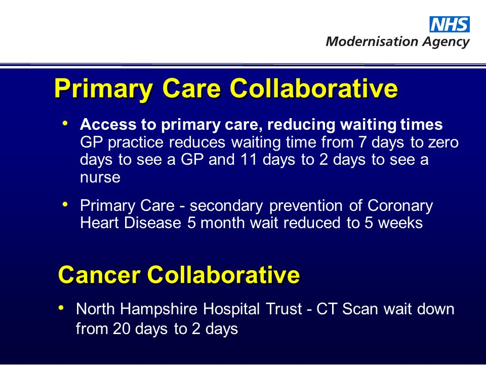 Primary Care Collaborative Access to primary care, reducing waiting times GP practice reduces waiting time from 7 days to zero days to see a GP and 11