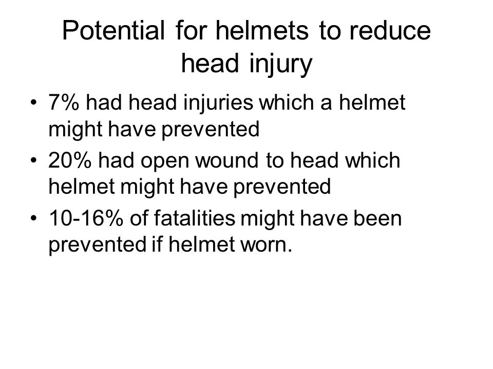 Potential for helmets to reduce head injury 7% had head injuries which a helmet might have prevented 20% had open wound to head which helmet might have prevented 10-16% of fatalities might have been prevented if helmet worn.