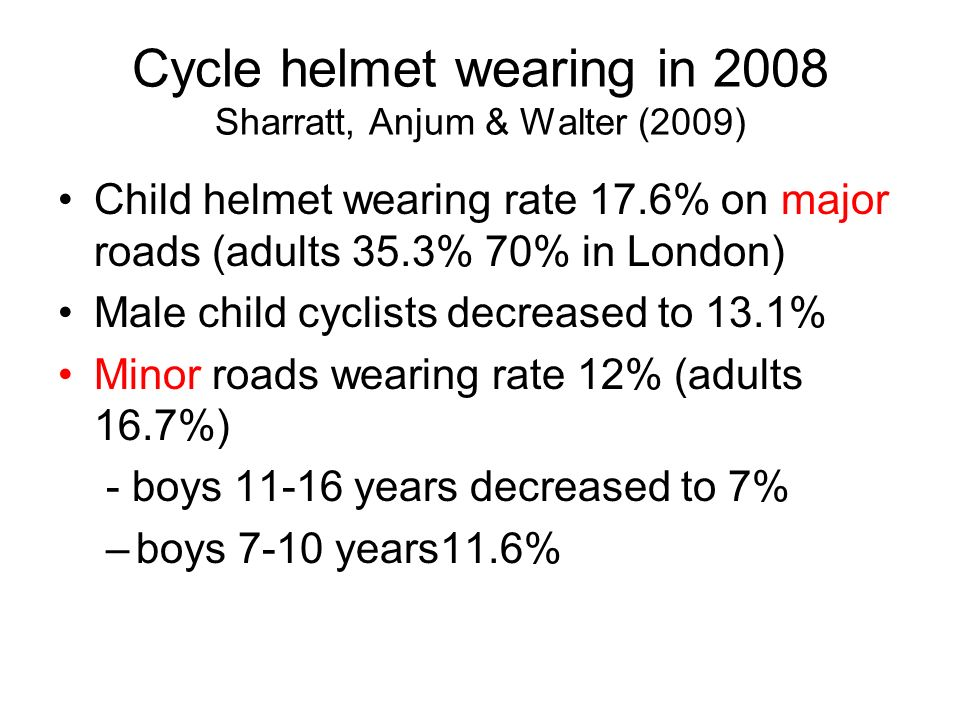 Cycle helmet wearing in 2008 Sharratt, Anjum & Walter (2009) Child helmet wearing rate 17.6% on major roads (adults 35.3% 70% in London) Male child cyclists decreased to 13.1% Minor roads wearing rate 12% (adults 16.7%) - boys 11-16 years decreased to 7% –boys 7-10 years11.6%
