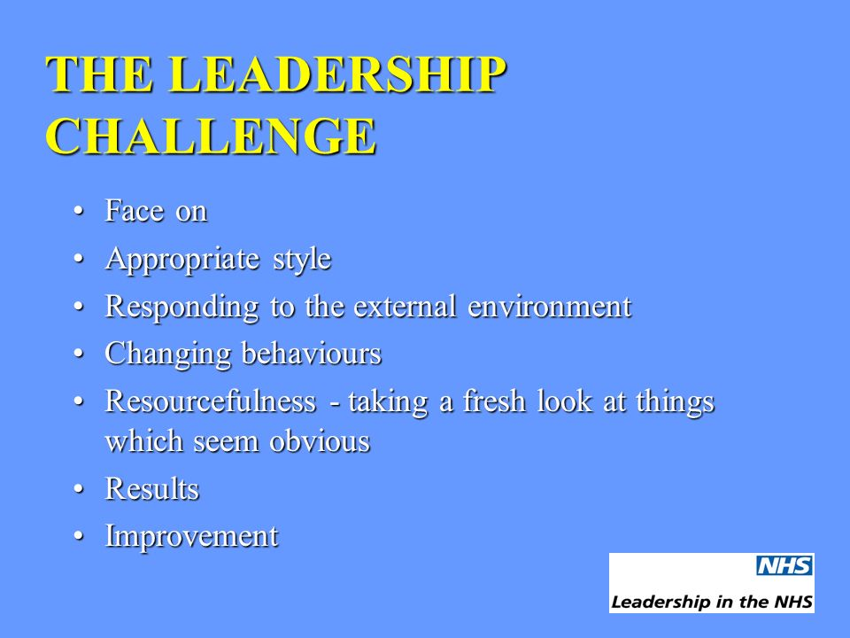 THE LEADERSHIP CHALLENGE Face onFace on Appropriate styleAppropriate style Responding to the external environmentResponding to the external environmen