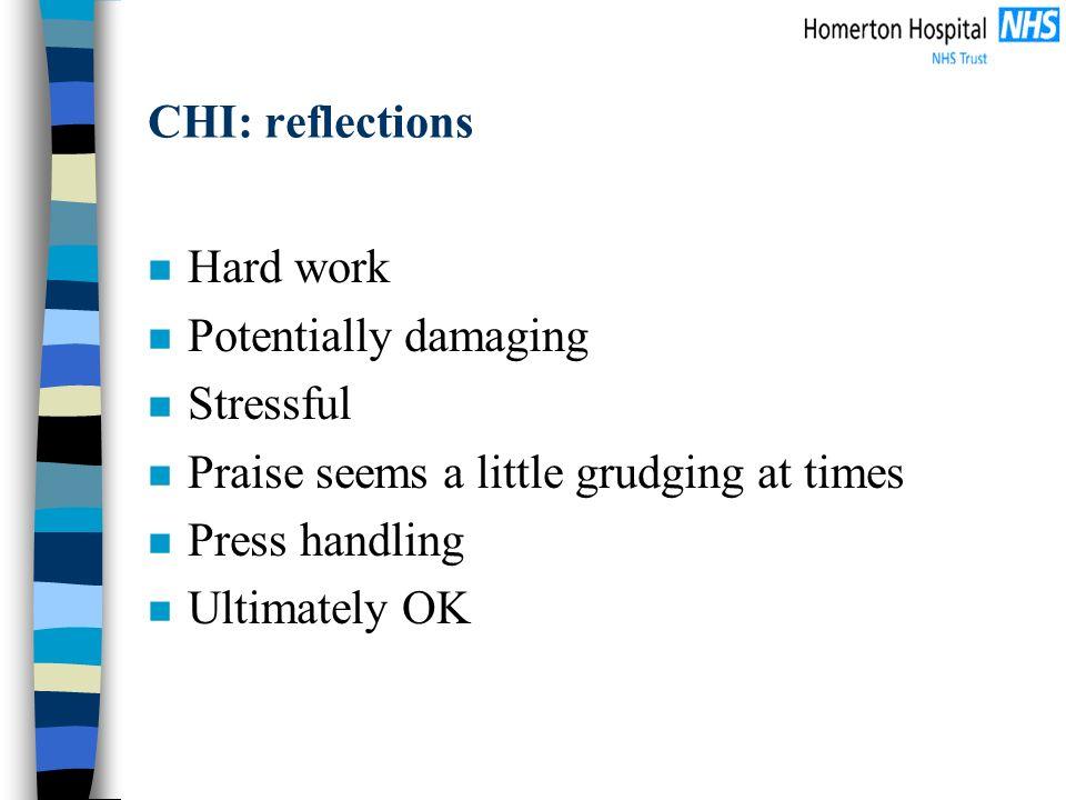 CHI: reflections n Hard work n Potentially damaging n Stressful n Praise seems a little grudging at times n Press handling n Ultimately OK
