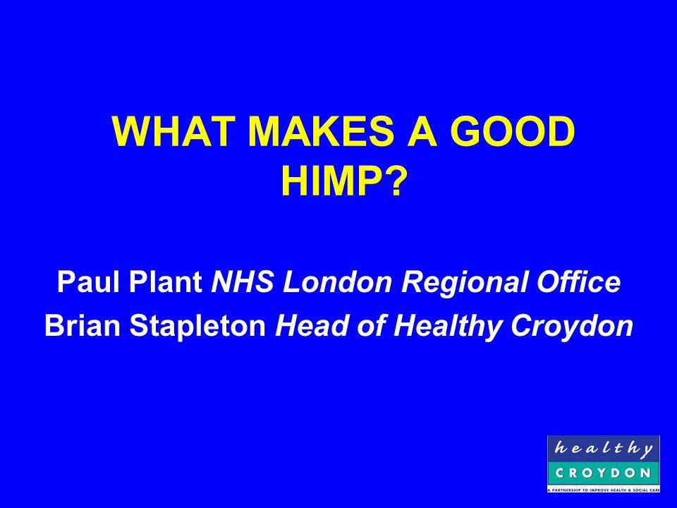 INVOLVEMENT Joint Planning Teams Consult Healthy Croydon Partnership