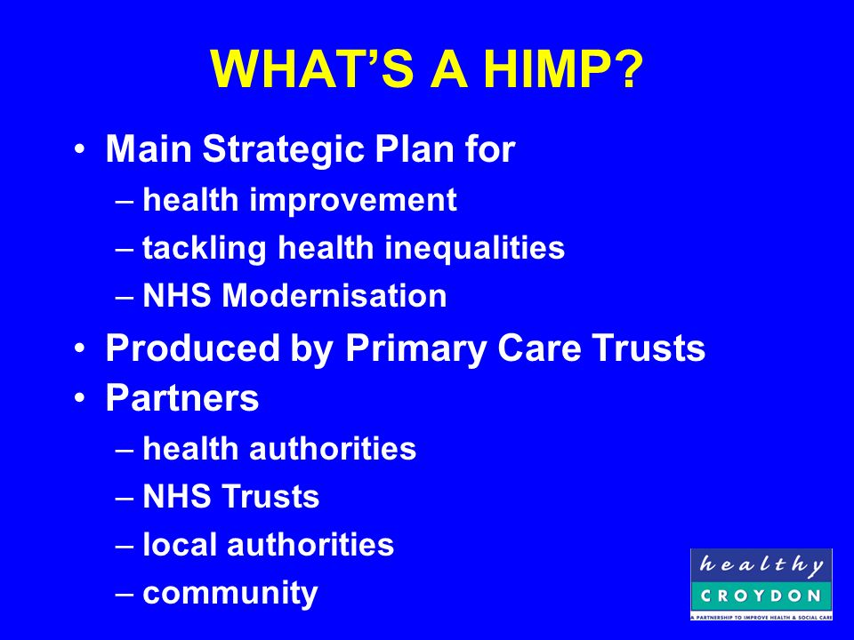 CONTENT Context –Local Modernisation Review –NHS Plan targets –National Service Frameworks Content –Vision –Strategic objectives –Activity –Targets / Milestones –Output / Delivery –Coordination